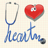 Stethoscope and the word heart Stock Photos