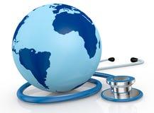 Stethoscope and world globe Stock Photo