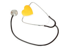 Stethoscope and yellow heart Stock Photography