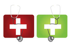 Stethoscopes. Set of stethoscopes with first aid boxes Royalty Free Stock Photo