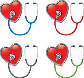 Stethoscopes on hearts Royalty Free Stock Images
