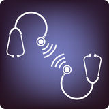 Stethoscopes talking. Communication in medicine using technology stock illustration