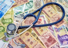 Stethoscopes on top of Chinese currency Royalty Free Stock Images