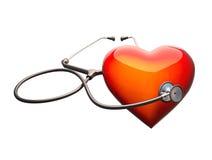 Stethoskop auf dem Herzen Stockfotografie