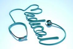 Stethoskop auf einem weißen und blauen Hintergrund Stockfoto