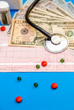Stethoskop auf Kardiogrammblatt mit Dollarscheinen und Pillen auf b Stockbild