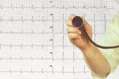 Stethoskop hielt durch Doktor auf dem Hintergrund des Kardiogramms Stockfotos
