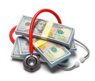 Stethoskop mit Geld stockfoto