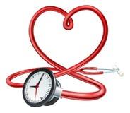 Stethoskop-Uhr-Herz-Konzept Lizenzfreie Stockbilder