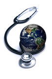 Stethoskop und die Erde Lizenzfreies Stockfoto