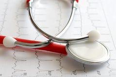 Stethoskop und ECG stockfotos