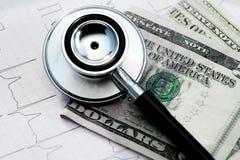 Stethoskop und Geld auf Elektrokardiogramm Stockfotografie