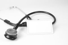 Stethoskop und Visitenkarte stockfoto