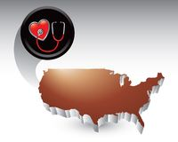 Stethscope on heart over united states icon Royalty Free Stock Photos