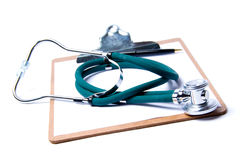 Stetoscopio & appunti Fotografie Stock