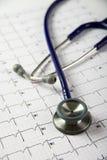 Stetoscopio in cima ad un EKG Fotografia Stock