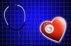 Stetoscopio con cuore Fotografia Stock