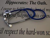 Stetoscopio con il giuramento di Ippocrate Fotografia Stock Libera da Diritti