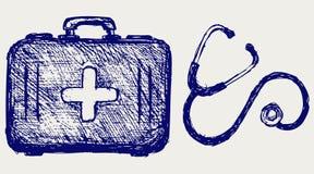 Stetoscopio con la cassetta di pronto soccorso illustrazione vettoriale