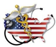 Stetoscopio con la mappa ed il caduceo della bandiera di U.S.A. Immagini Stock Libere da Diritti