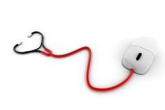Stetoscopio con un mouse del calcolatore Fotografia Stock Libera da Diritti