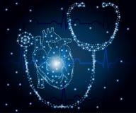 Stetoscopio, cuore, poligono, ECG blu 1 Fotografie Stock