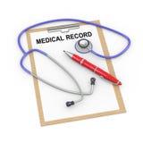 stetoscopio 3d e cartella sanitaria Fotografie Stock Libere da Diritti
