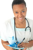 Stetoscopio del nero dell'infermiera del medico dell'afroamericano Fotografie Stock Libere da Diritti