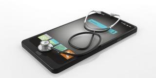 stetoscopio della rappresentazione 3d su uno Smart Phone Fotografia Stock