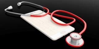 stetoscopio della rappresentazione 3d su uno Smart Phone Immagini Stock