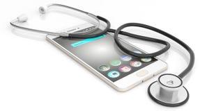 stetoscopio della rappresentazione 3d su uno Smart Phone Immagine Stock Libera da Diritti