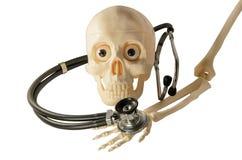 Stetoscopio di scheletro delle ossa di braccio del cranio Fotografie Stock