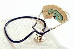 Stetoscopio e cartella sanitaria che si trovano sulla parte posteriore di bianco Immagine Stock