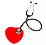 Stetoscopio e cuore medici neri Fotografia Stock Libera da Diritti
