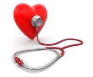 Stetoscopio e cuore (percorso di ritaglio incluso) Fotografia Stock