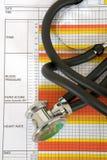 Stetoscopio e diagramma Immagini Stock