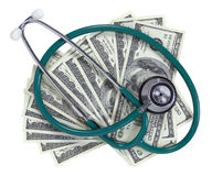 Stetoscopio e soldi Immagini Stock