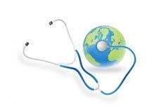 Stetoscopio e terra Immagine Stock