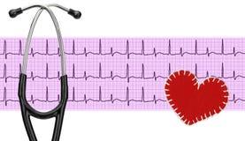 Stetoscopio, grafico dell'elettrocardiogramma (ECG) e cuore del tessuto Immagini Stock
