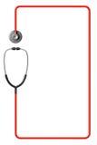 Stetoscopio nel rosso come blocco per grafici Fotografia Stock