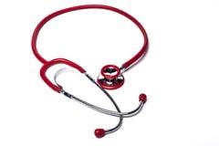 Stetoscopio rosso isolato Fotografie Stock