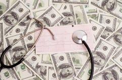 Stetoscopio sopra il grafico del ecg e 100 banconote in dollari Immagini Stock Libere da Diritti