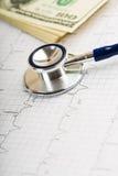 Stetoscopio sopra il grafico del ecg e 100 dollari Fotografie Stock