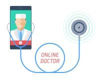 Stetoscopio su un telefono cellulare con medico sullo schermo Fotografia Stock