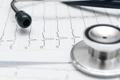 Stetoscopio sul cardiogramma Immagini Stock
