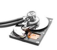 Stetoscopio sul drive del hard disk Fotografia Stock Libera da Diritti
