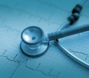 Stetoscopio sul ECG stampato immagine stock