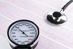 Stetoscopio sull'elettrocardiogramma Fotografia Stock Libera da Diritti