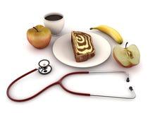 Stetoscopio sulla tabella di prima colazione Fotografie Stock