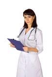 stetoskop för clipboarddoktorskvinnlig arkivfoton